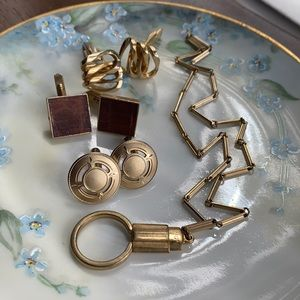 Vintage Gold tone cufflinks and watch fob chain